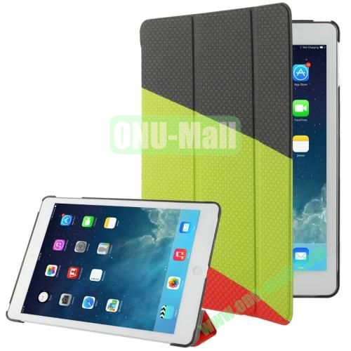 3-folding Weave Texture Leather Case for iPad Air with Holder & Sleep  Wake-up Function