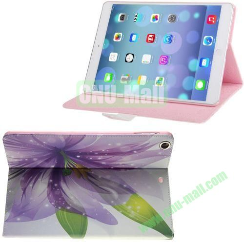 Beautiful Lily Pattern Diamond Encrusted Leather Case with Holder for iPad Air