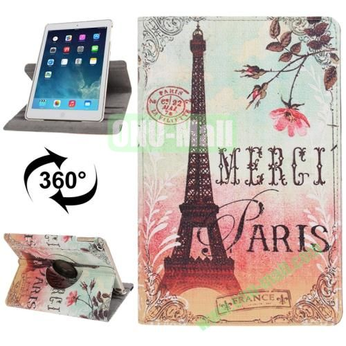 360 Degree Rotation Eiffel Tower Pattern Leather Case with 3 Gears Holder for iPad Air
