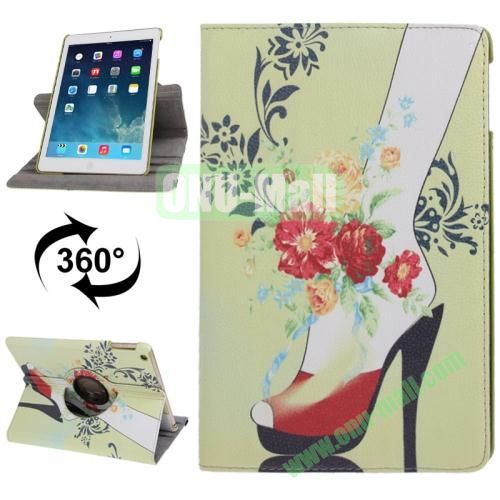 360 Degree Rotating High Heels Pattern Leather Case with 3 Gears Holder for iPad Air