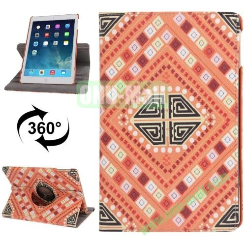 360 Degree Rotating New Stylish Aztec Tribal Pattern Retro Leather Case with 3 Gears Holder for iPad Air