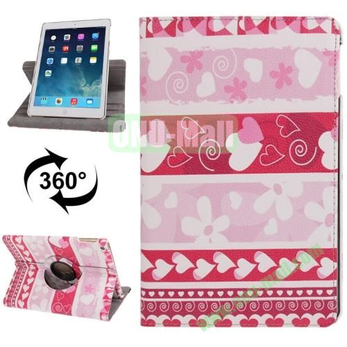 360 Degree Rotating Hearts Pattern Leather Case with 3 Gears Holder for iPad Air