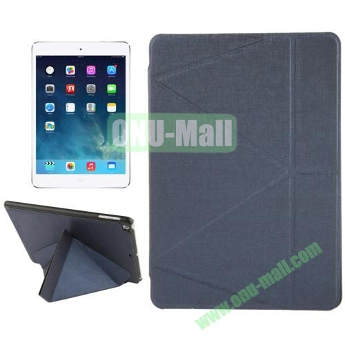 Multi-folding Holder Linen Texture Leather Case for iPad Air (Black)