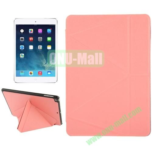 Multi-folding Holder Linen Texture Leather Case for iPad Air (Pink)