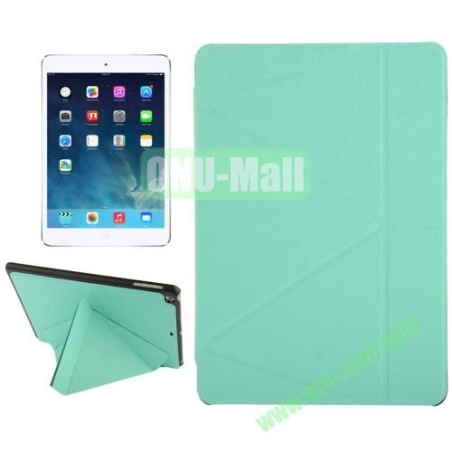 Multi-folding Holder Linen Texture Leather Case for iPad Air (Green)