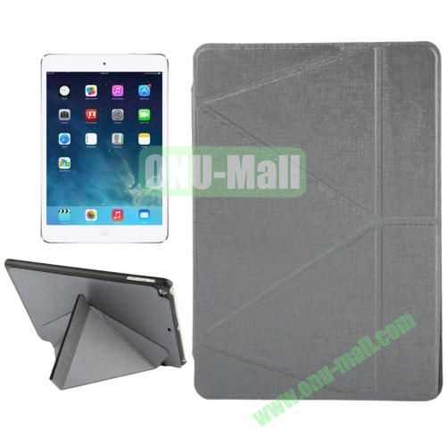Multi-folding Holder Linen Texture Leather Case for iPad Air (Gray)
