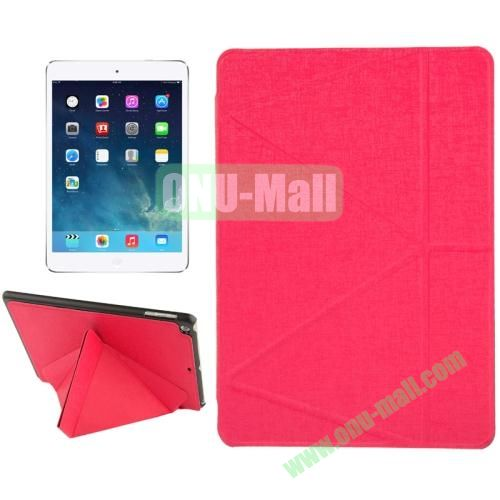 Multi-folding Holder Linen Texture Leather Case for iPad Air (Rose)