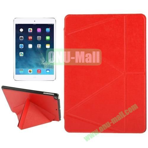 Multi-folding Holder Linen Texture Leather Case for iPad Air (Red)