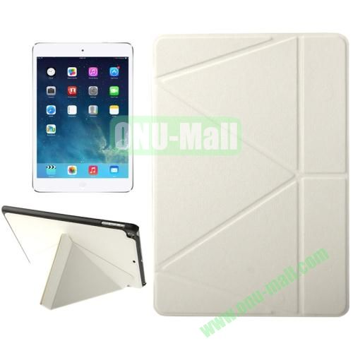 Multi-folding Holder Linen Texture Leather Case for iPad Air (White)
