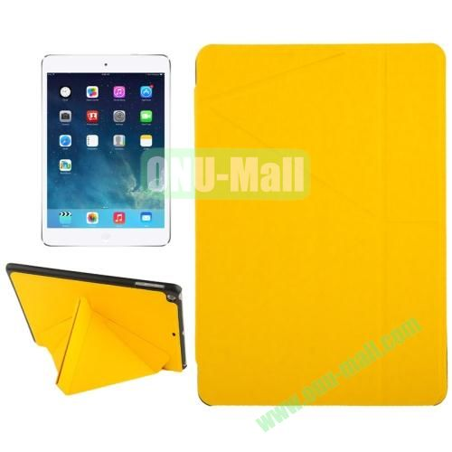 Multi-folding Holder Linen Texture Leather Case for iPad Air (Yellow)