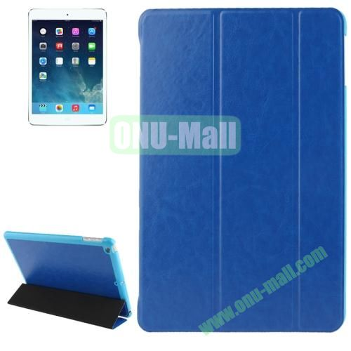 3-folding Crazy Horse Texture Leather Cover for iPad Air with Holder & Sleep  Wake-up Function (Blue)