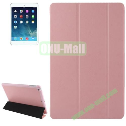 3-folding Crazy Horse Texture Leather Cover for iPad Air with Holder & Sleep  Wake-up Function (Pink)