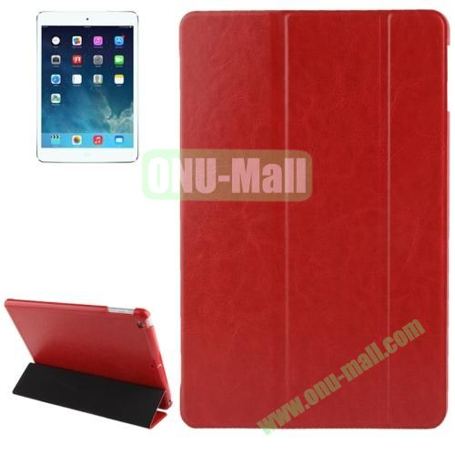 3-folding Crazy Horse Texture Leather Cover for iPad Air with Holder & Sleep  Wake-up Function (Red)
