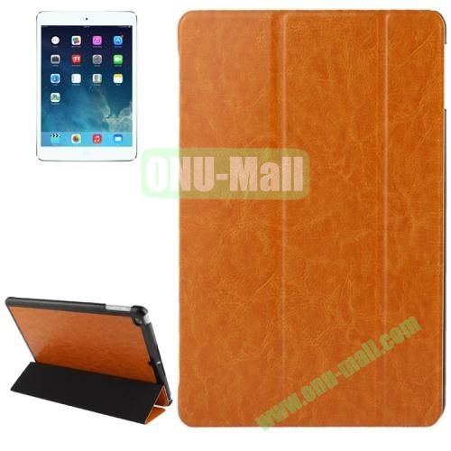 3-folding Crazy Horse Texture Leather Cover for iPad Air with Holder & Sleep  Wake-up Function (Yellow)