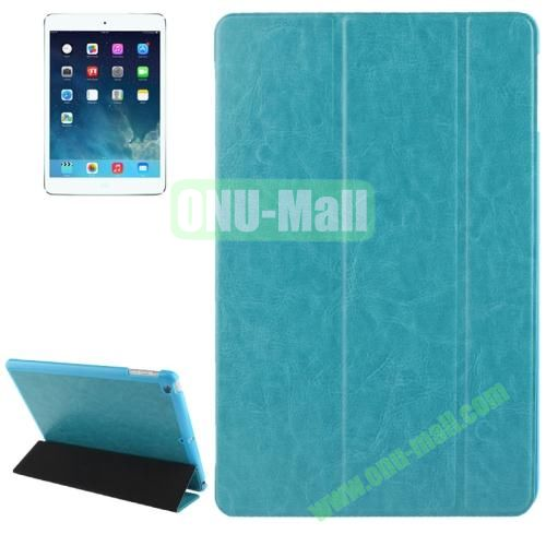 3-folding Crazy Horse Texture Leather Cover for iPad Air with Holder & Sleep  Wake-up Function (Light  Blue)