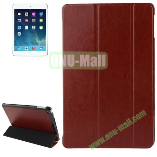 3-folding Crazy Horse Texture Leather Cover for iPad Air with Holder & Sleep  Wake-up Function (Brown)