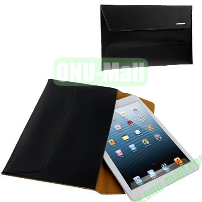 Bag Style (Genuine Leather + PU) Protective Bag for iPad Mini  Mini 2 Retina  iPad Mini 3 with Magnet Button (Black)