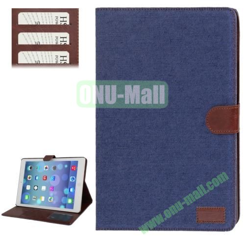 Denim Texture Leather Cover Case for iPad Air with Credit Card Slots & Holder & Sleep  Wake-up Function (Blue)