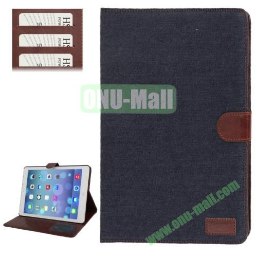 Denim Texture Leather Cover Case for iPad Air with Credit Card Slots & Holder & Sleep  Wake-up Function (Dark Blue)