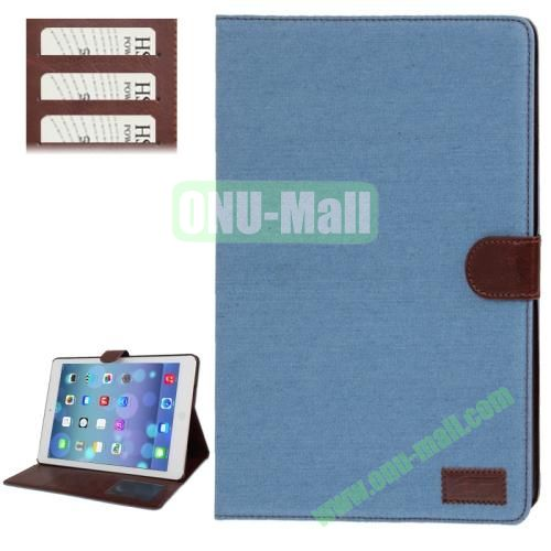 Denim Texture Leather Cover Case for iPad Air with Credit Card Slots & Holder & Sleep  Wake-up Function (Baby Blue)