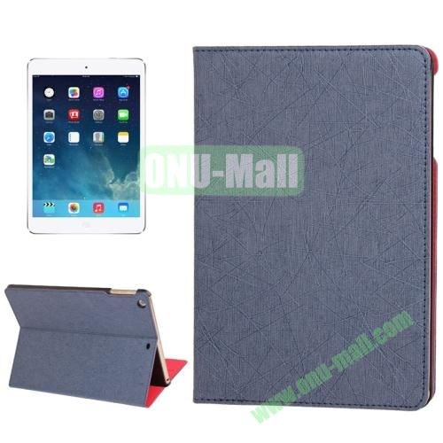 Lines Texture Leather Cover Case for iPad Air with 3 Gears & Holder & Sleep  Wake-up Function (Dark Blue)