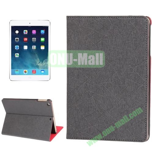 Lines Texture Leather Cover Case for iPad Air with 3 Gears & Holder & Sleep  Wake-up Function (Gray)