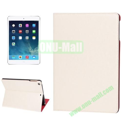 Lines Texture Leather Cover Case for iPad Air with 3 Gears & Holder & Sleep  Wake-up Function (White)