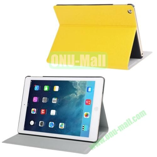Oracle Texture Leather Cover for iPad Air with 3 Gears Holder  (Yellow)