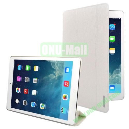 3-folding Oracle Texture Leather Case for iPad Air with Sleep  Wake-up Function & Holder (White)