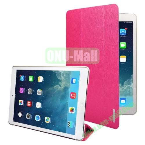 3-folding Oracle Texture Leather Case for iPad Air with Sleep  Wake-up Function & Holder (Rose)