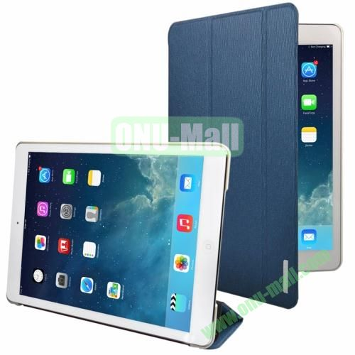 3-folding Oracle Texture Leather Case for iPad Air with Sleep  Wake-up Function & Holder (Blue)