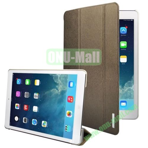 3-folding Oracle Texture Leather Case for iPad Air with Sleep  Wake-up Function & Holder (Brown)