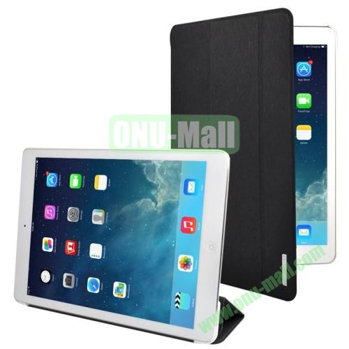 3-folding Oracle Texture Leather Case for iPad Air with Sleep  Wake-up Function & Holder (Black)