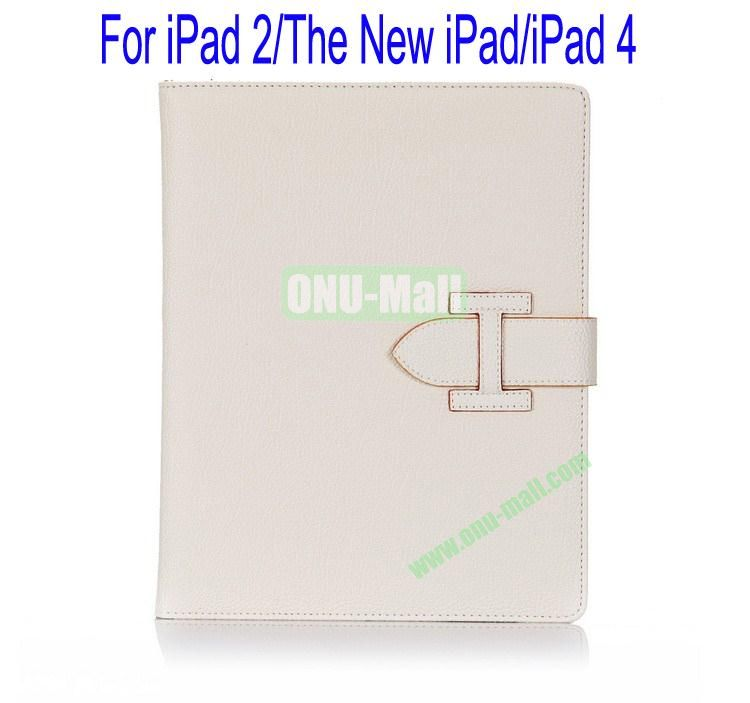 High Quality Litchi Lines Leather Case Cover for iPad 2The New iPadiPad 4 With Belt(White)