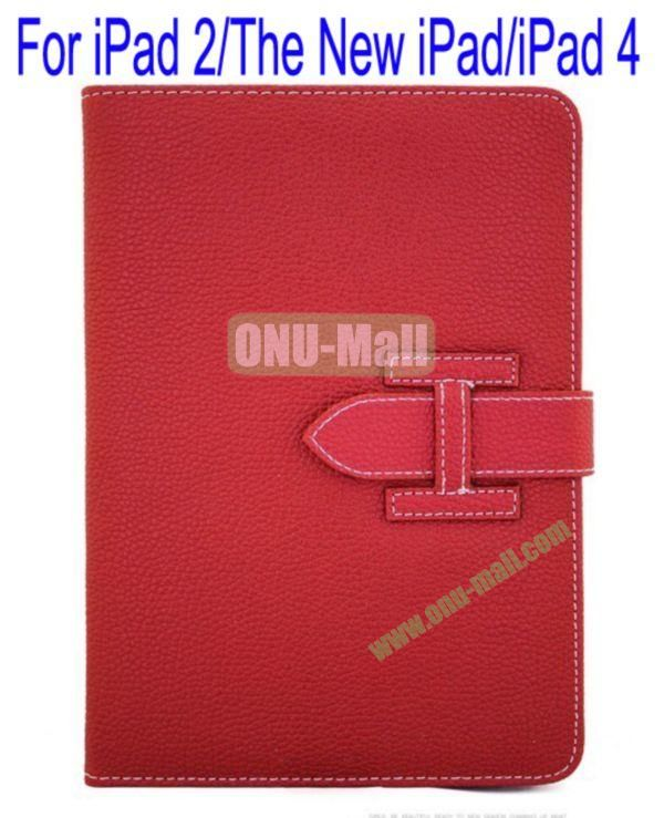 High Quality Litchi Lines Leather Case Cover for iPad 2The New iPadiPad 4 With Belt(Red)