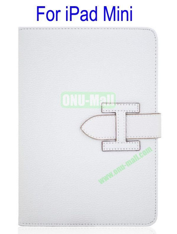 High Quality Litchi Lines Leather Case Cover for iPad Mini With Belt(White)