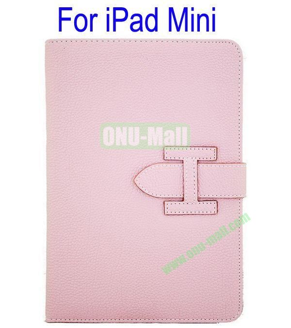High Quality Litchi Lines Leather Case Cover for iPad Mini With Belt(Pink)