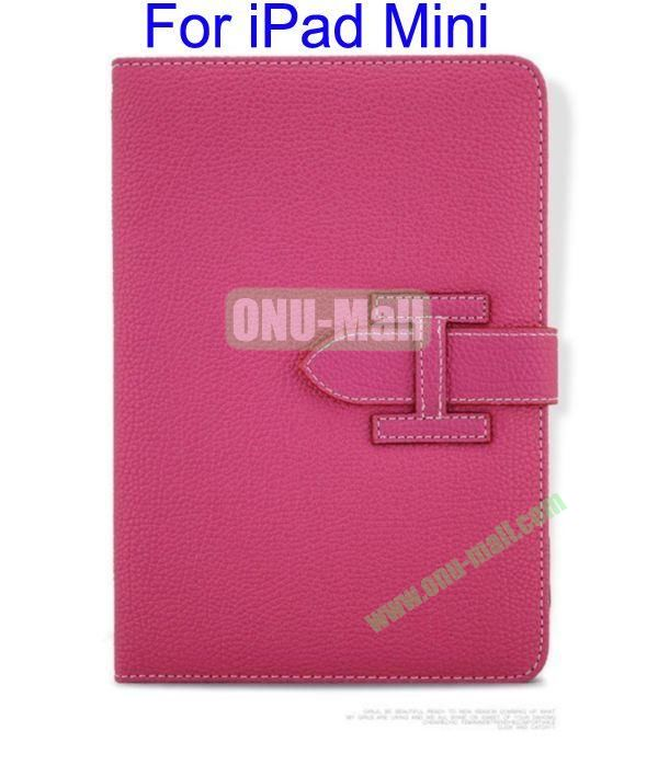 High Quality Litchi Lines Leather Case Cover for iPad Mini With Belt(Rose)