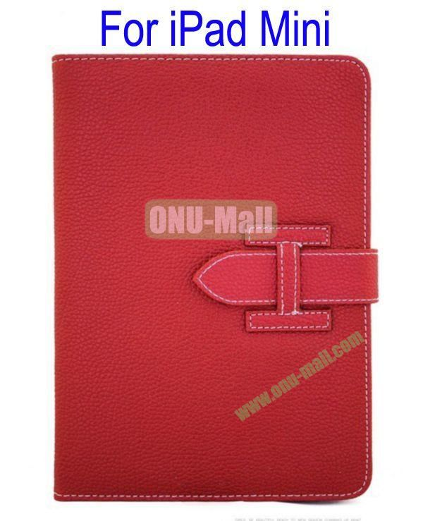 High Quality Litchi Lines Leather Case Cover for iPad Mini With Belt(Red)