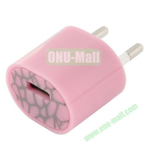5V 1A EU Plug USB Charger Adapter for iPhone 6, iPhone 5S& 5C& 5, Samsung Galaxy S5, etc (Pink)