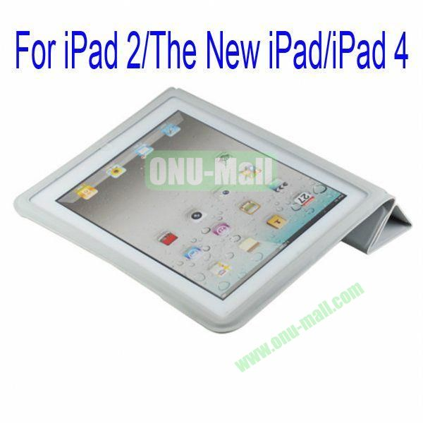 Ultrathin Four Folio Leather Smart Cover and Back Leather Cover for iPad 2 The New iPadiPad 4 with Dormancy Function(Grey)