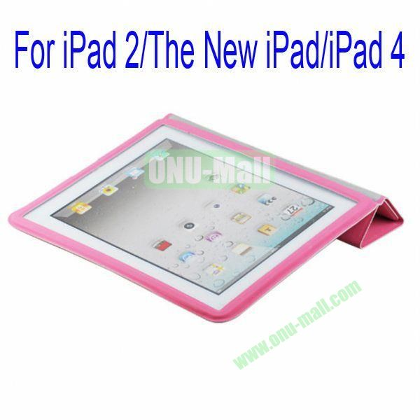 Ultrathin Four Folio Leather Smart Cover and Back Leather Cover for iPad 2 The New iPadiPad 4 with Dormancy Function(Pink)