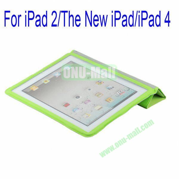 Ultrathin Four Folio Leather Smart Cover and Back Leather Cover for iPad 2 The New iPadiPad 4 with Dormancy Function(Green)