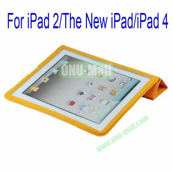 Ultrathin Four Folio Leather Smart Cover and Back Leather Cover for iPad 2 The New iPadiPad 4 with Dormancy Function(Orange)