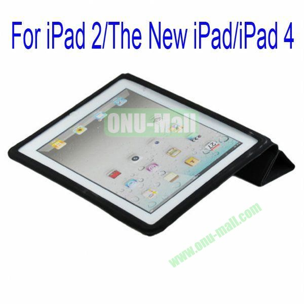 Ultrathin Four Folio Leather Smart Cover and Back Leather Cover for iPad 2 The New iPadiPad 4 with Dormancy Function(Black)