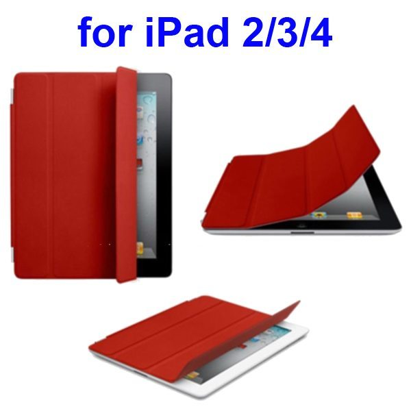 Ultrathin Four Folio Leather Smart Cover for iPad 2 The New iPadiPad 4 with Dormancy Function(Red)