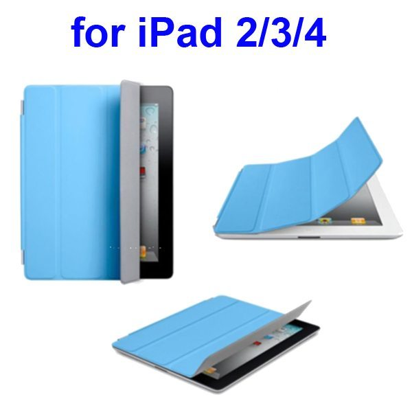 Ultrathin Four Folio Leather Smart Cover for iPad 2 The New iPadiPad 4 with Dormancy Function(Blue)