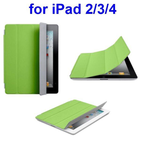 Ultrathin Four Folio Leather Smart Cover for iPad 2 The New iPadiPad 4 with Dormancy Function(Green)