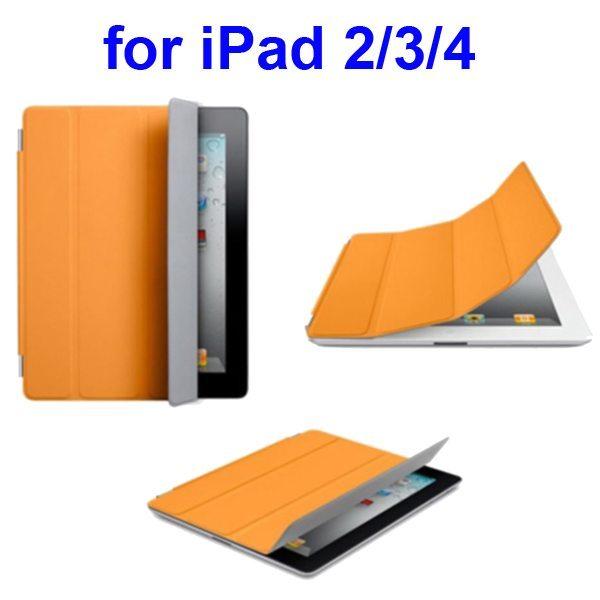 Ultrathin Four Folio Leather Smart Cover for iPad 2 The New iPadiPad 4 with Dormancy Function(Orange)