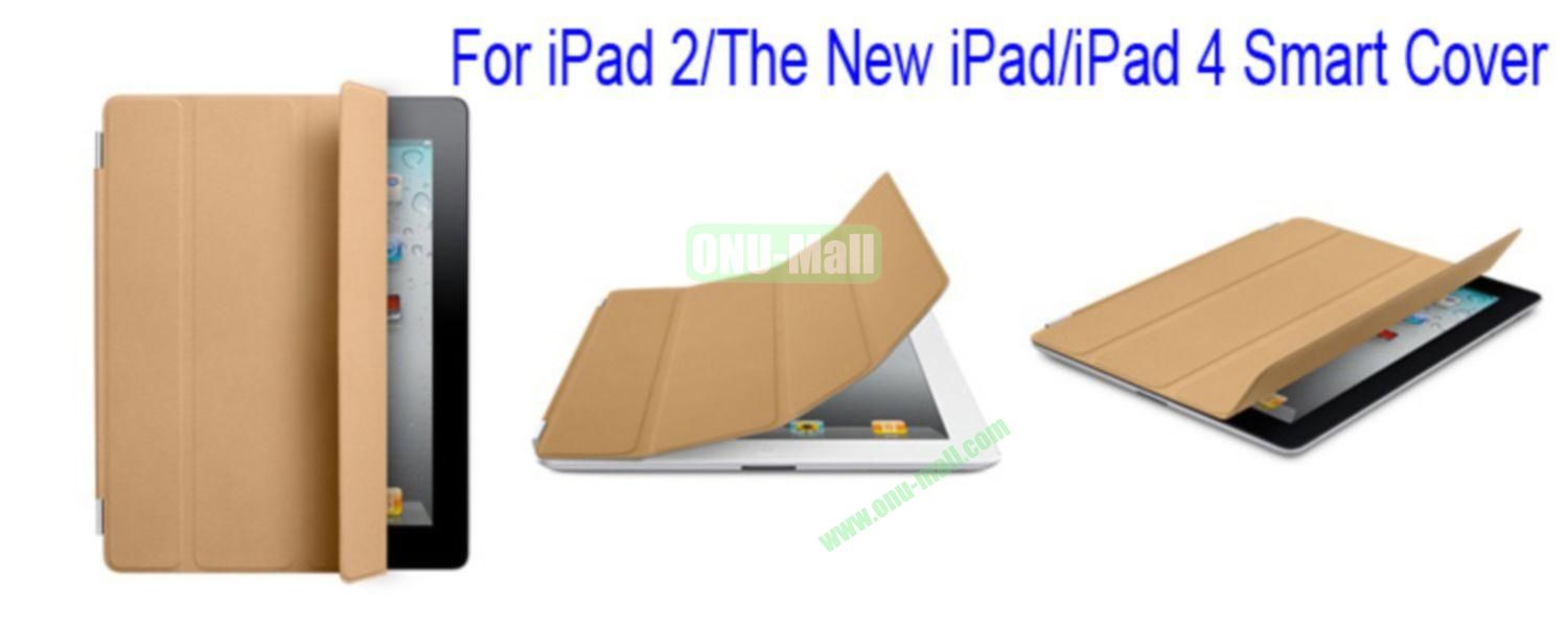 Ultrathin Four Folio Leather Smart Cover for iPad 2 The New iPadiPad 4 with Dormancy Function(Brown)